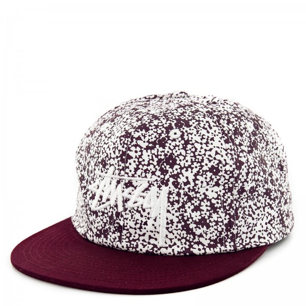 Stüssy Cap Flower Crown Burgundy