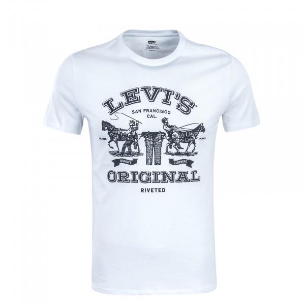 Herren T-Shirt 2 Horse Graphic White Black