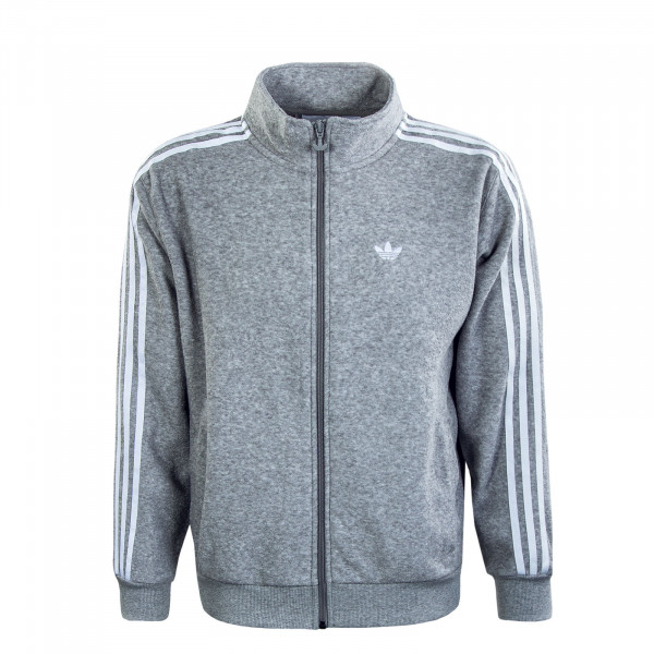 Herren Trainingsjacke - Bouclé Track Jacket - Grey / White