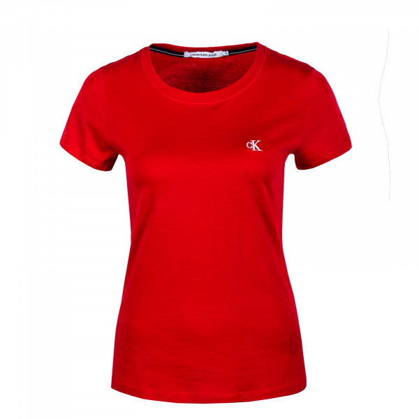 Damen T-Shirt Embroidery Slim Red Hot