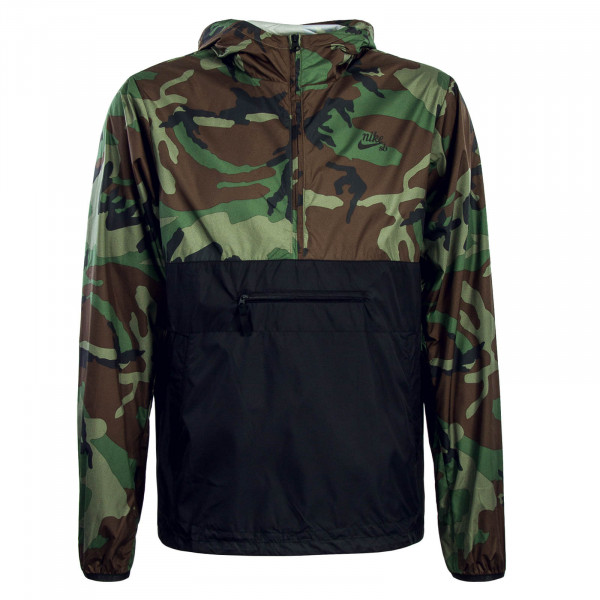 Herren Windbreaker Camouflage Black