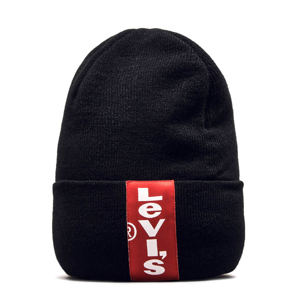 Levis Beanie Marshy Red Tab Black