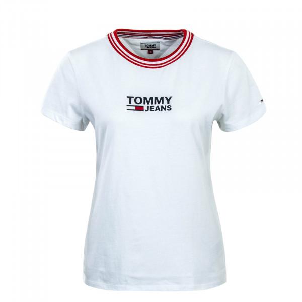 Tommy Wmn TS Rib Stripe Neck White Red