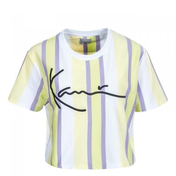 Damen Crop T-Shirt Signature Stripe Wide Tee 22031 White