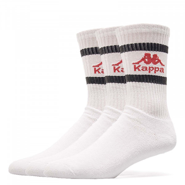Kappa Socks 3 Pack Temmo White Red