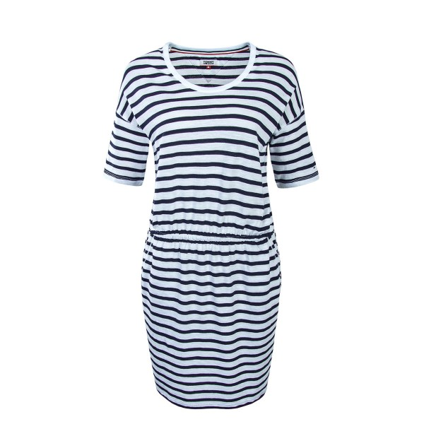 Tommy Wmn Dress Stripe White Navy