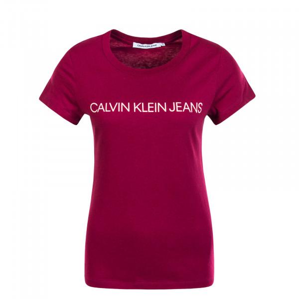 Damen T-Shirt Institutional Logo Bordeaux