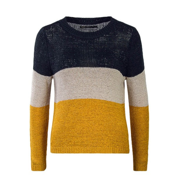 Only Knit Geena Block Navy  Beige Yellow