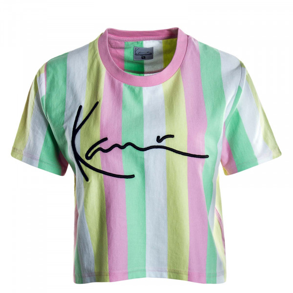 Damen T-Shirt Crop Stripe Pink Green White