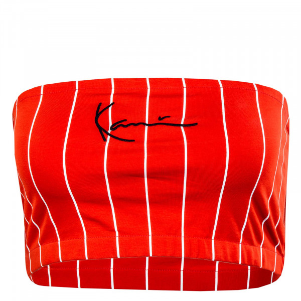 Damen Tube Top - Pinstripe Bandeau - red