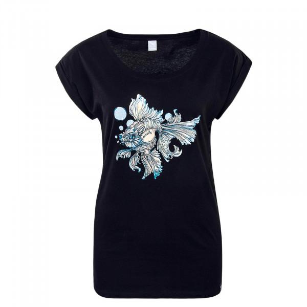 Damen T-Shirt Bubble Fish Black