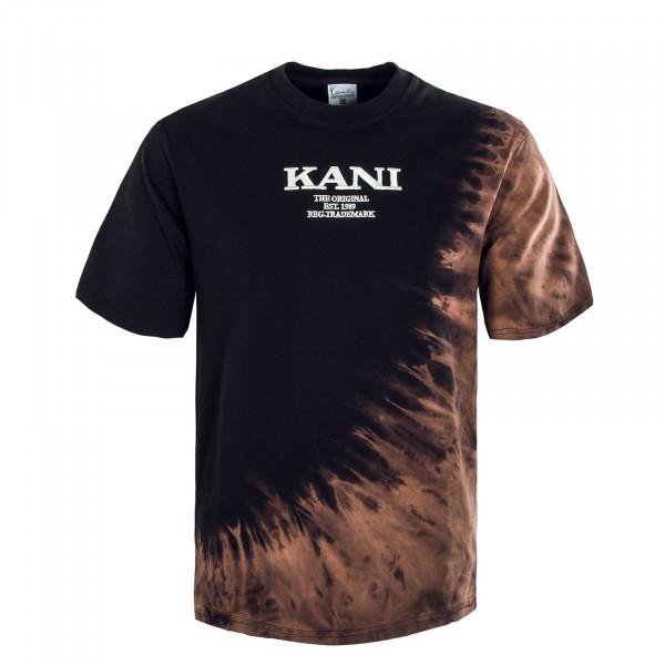 Herren T-Shirt - Retro Bleached Tee - Black / Dark / Orange