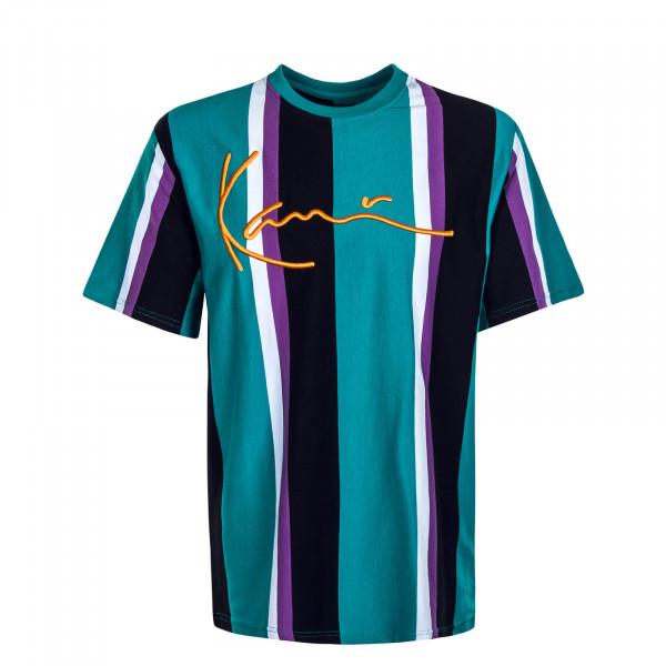 Herren T-Shirt Signature Stripe Turquoise Black White