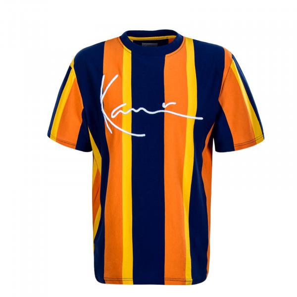 Herren T-Shirt College Stripes Navy Orange