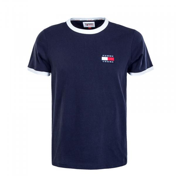 Herren T-Shirt - Badge Ringer Tee - Twilight Navy / White