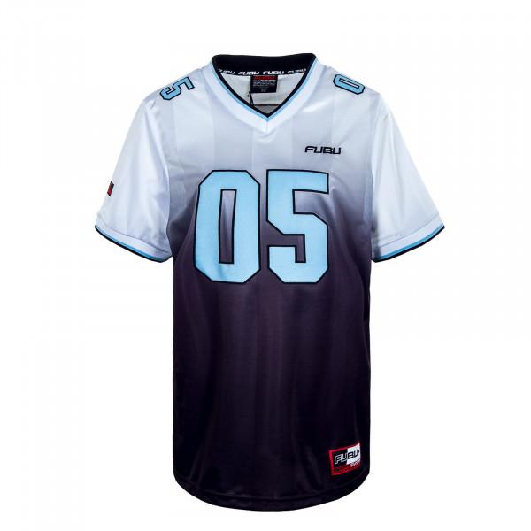 Herren T-Shirt - Fubu Corporate Grad Football Jersey - White / Black / Lightblue