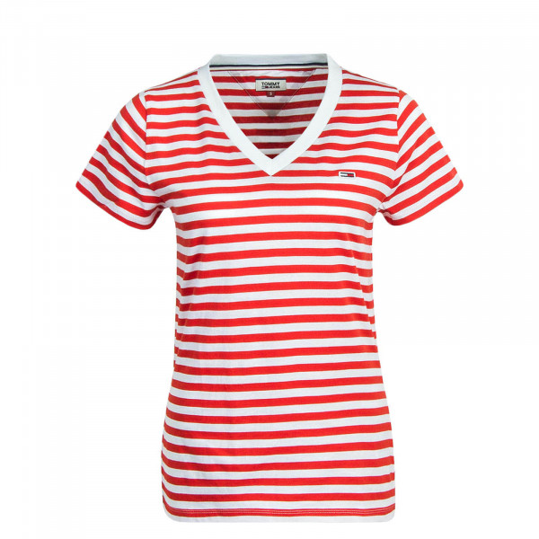 Damen T-Shirt Classic Stripe Red White