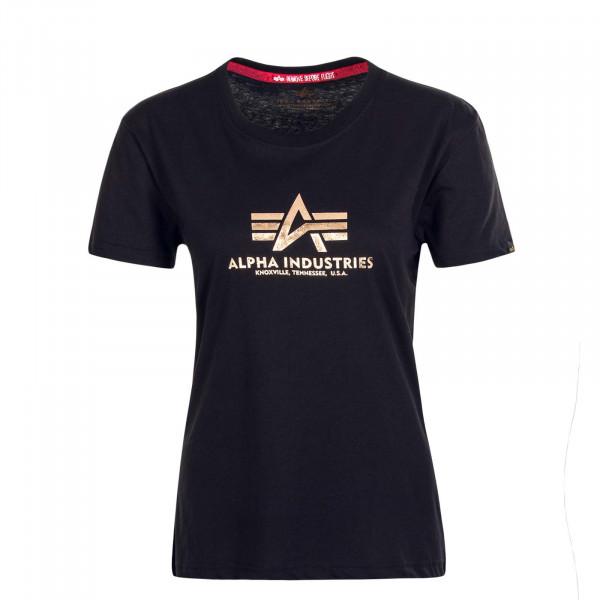 Damen T-Shirt Basic T Foil Print Black Gold