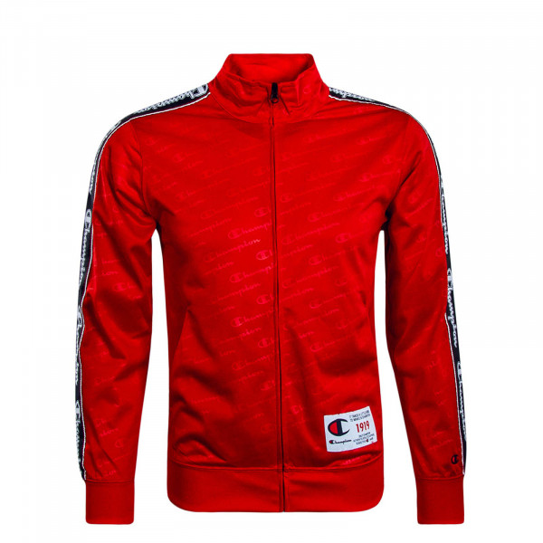 Herren Sweatjacke Zip Allover Red