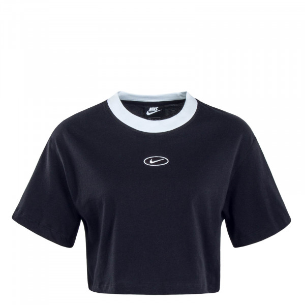 Damen T-Shirt Crop Swoosh Black White