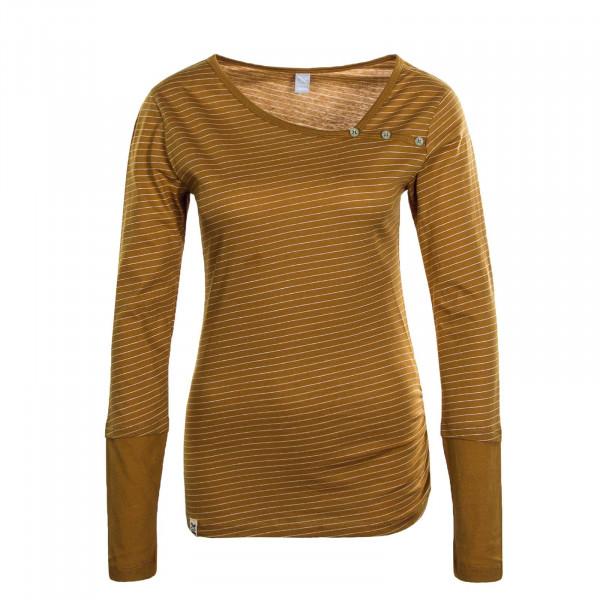 Damen Longsleeve - Asym Stripe Button - Mustard