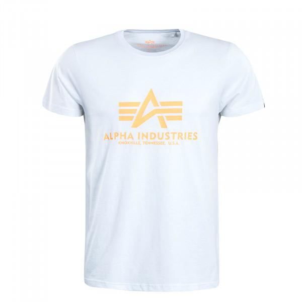 Herren T-Shirt Basic White Neon Orange