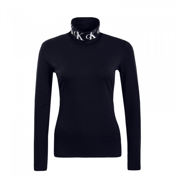 Damen Longsleeve Mono Tape Roll Neck Black