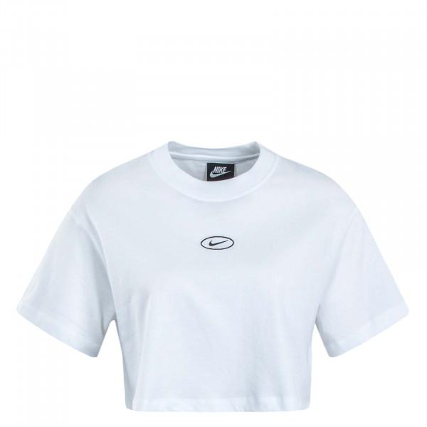 Damen T-Shirt Crop Swoosh White Black