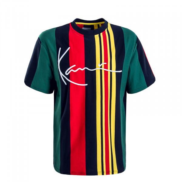 Herren T-Shirt Signature Stripe Navy Green Red