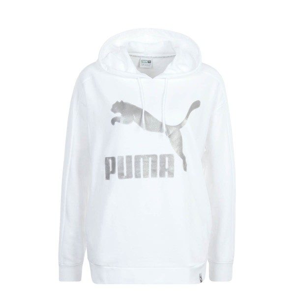 Puma Wmn Hoody Classic Logo White Silver