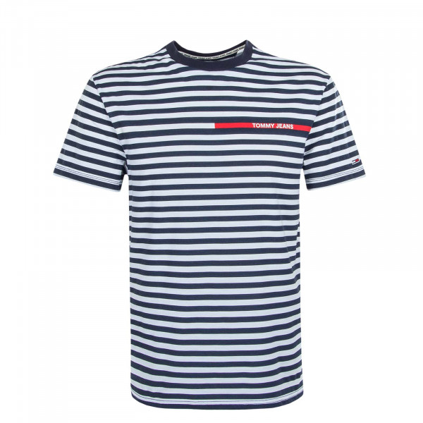 Herren T-Shirt Banded Stripe Navy White