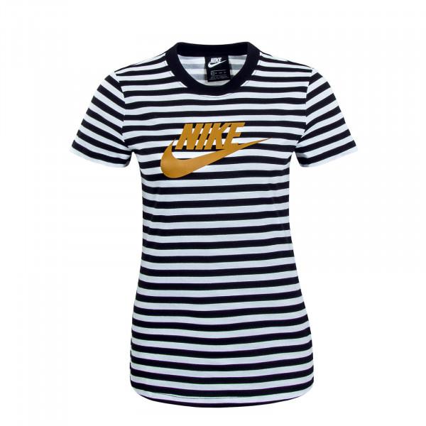 Damen T-Shirt NSW SS LA Stripe Black White
