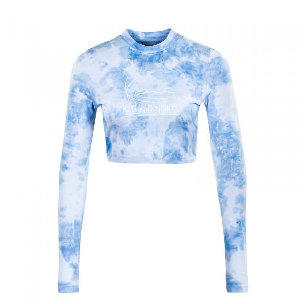Damen Longsleeve - Signature Dye Cropped - White / Light Blue