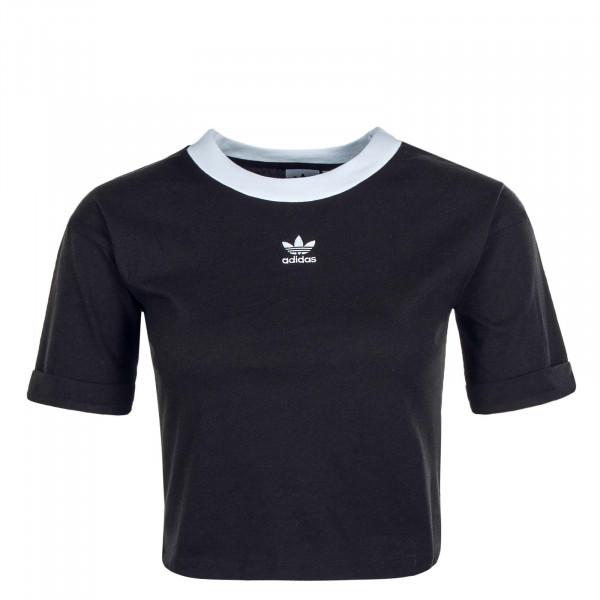 Damen T-Shirt Crop FM 2557 Black White