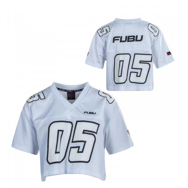 Damen T-Shirt Coporate Crop Football Jersey White Black