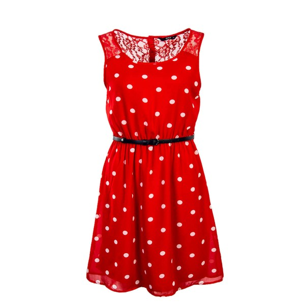 Only Dress Lia Lace Belt Red White Point