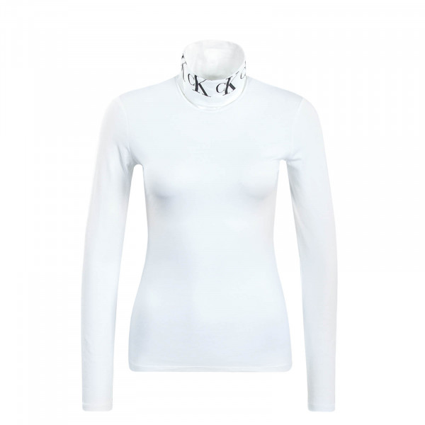 Damen Longsleeve Mono Tape Roll Neck White