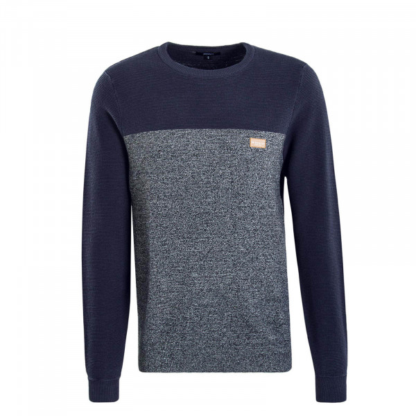 Herren Knit Auf Deck Stripe Blue Grey