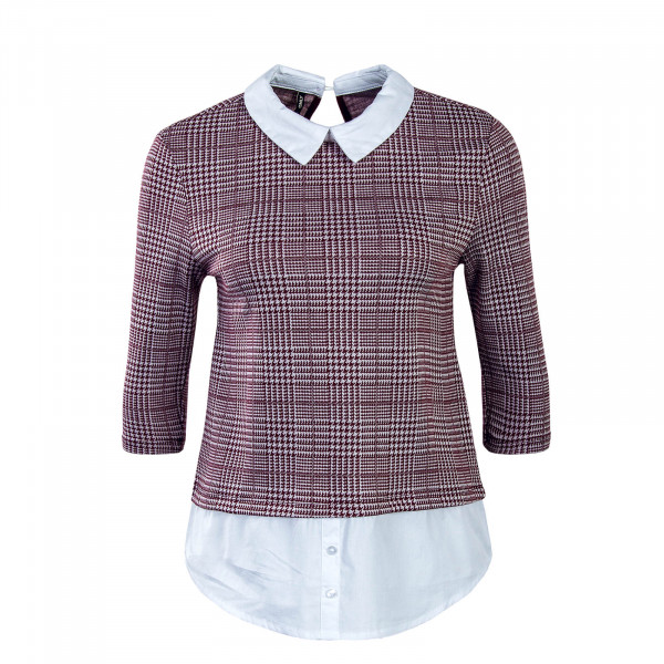 Damen Bluse Selma 3/4 Bordeaux White