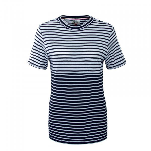 Damen T-Shirt Stripe Mix White Navy