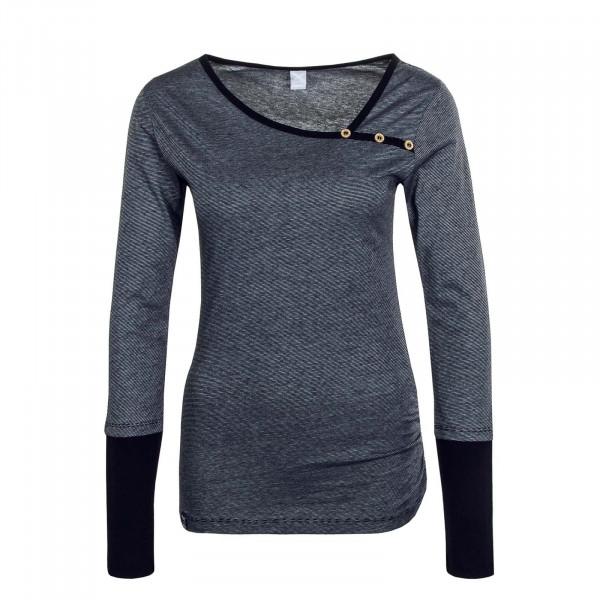 Damen Longsleeve - Asym Stripe Button - Black White