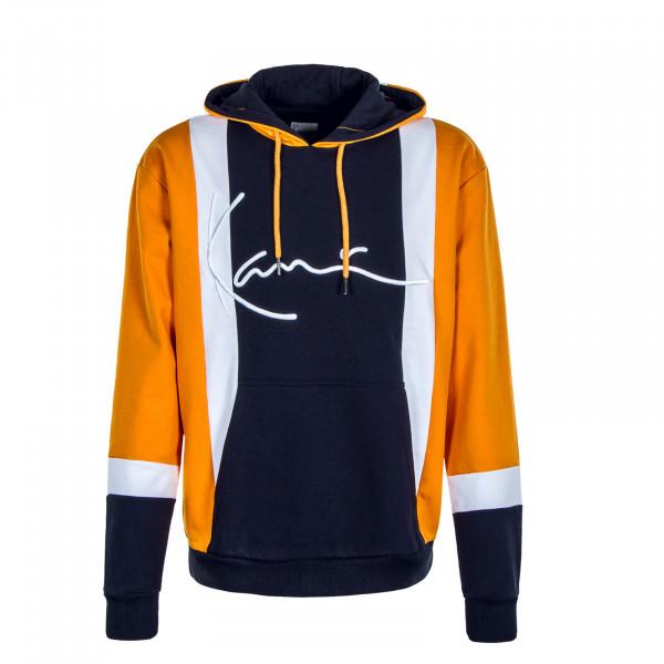 Herren Hoody Signature Block Navy Orange White