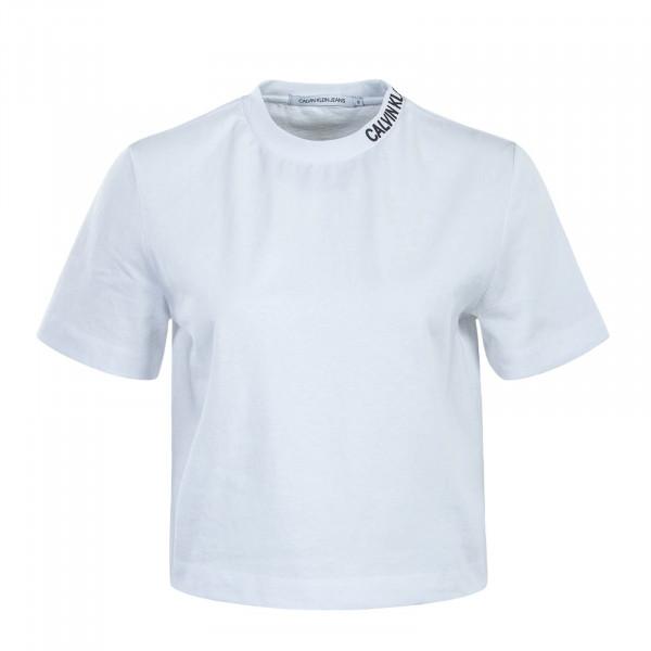 Damen T-Shirt Cropped Skater White