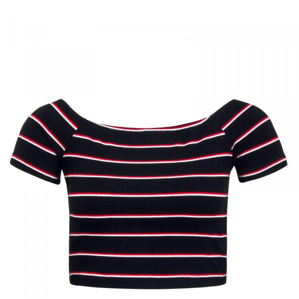 Damen T-Shirt Off Shoulder Day Black White Red