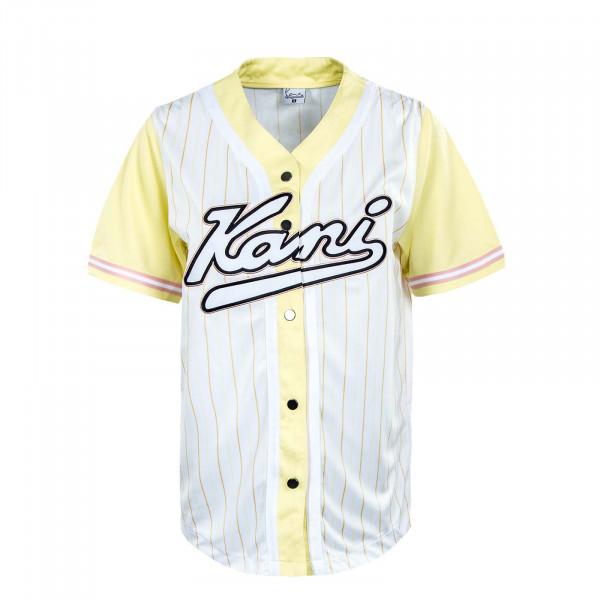 Damen T-Shirt -Varsity Block Pinstripe Baseball - White Yellow