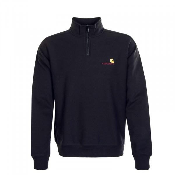 Herren Sweatshirt Half Zip American Script Black
