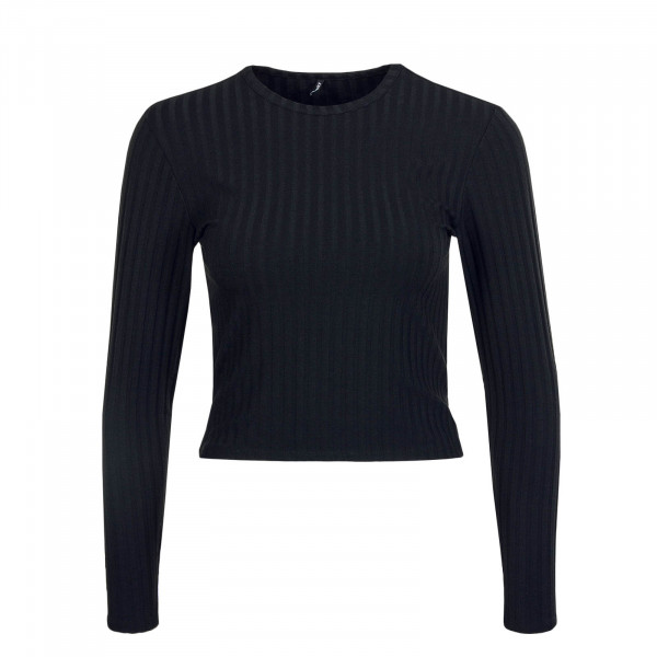 Damen Crop Longsleeve Valeria Neck Top Black