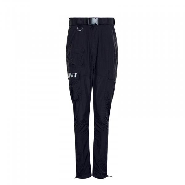 Herren Retro Cargo Pants Crinkle Nylon Black