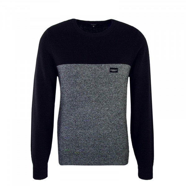 Herren Knit Auf Deck Stripe Black Grey