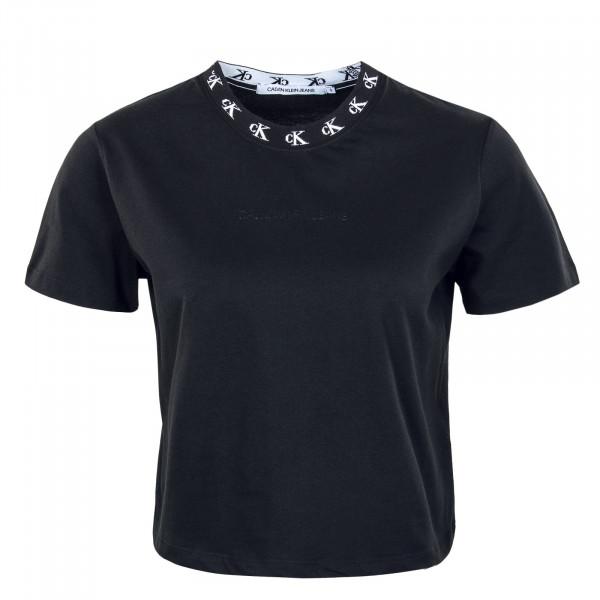 Damen Crop Top CK Logo Trim SS TEE Black